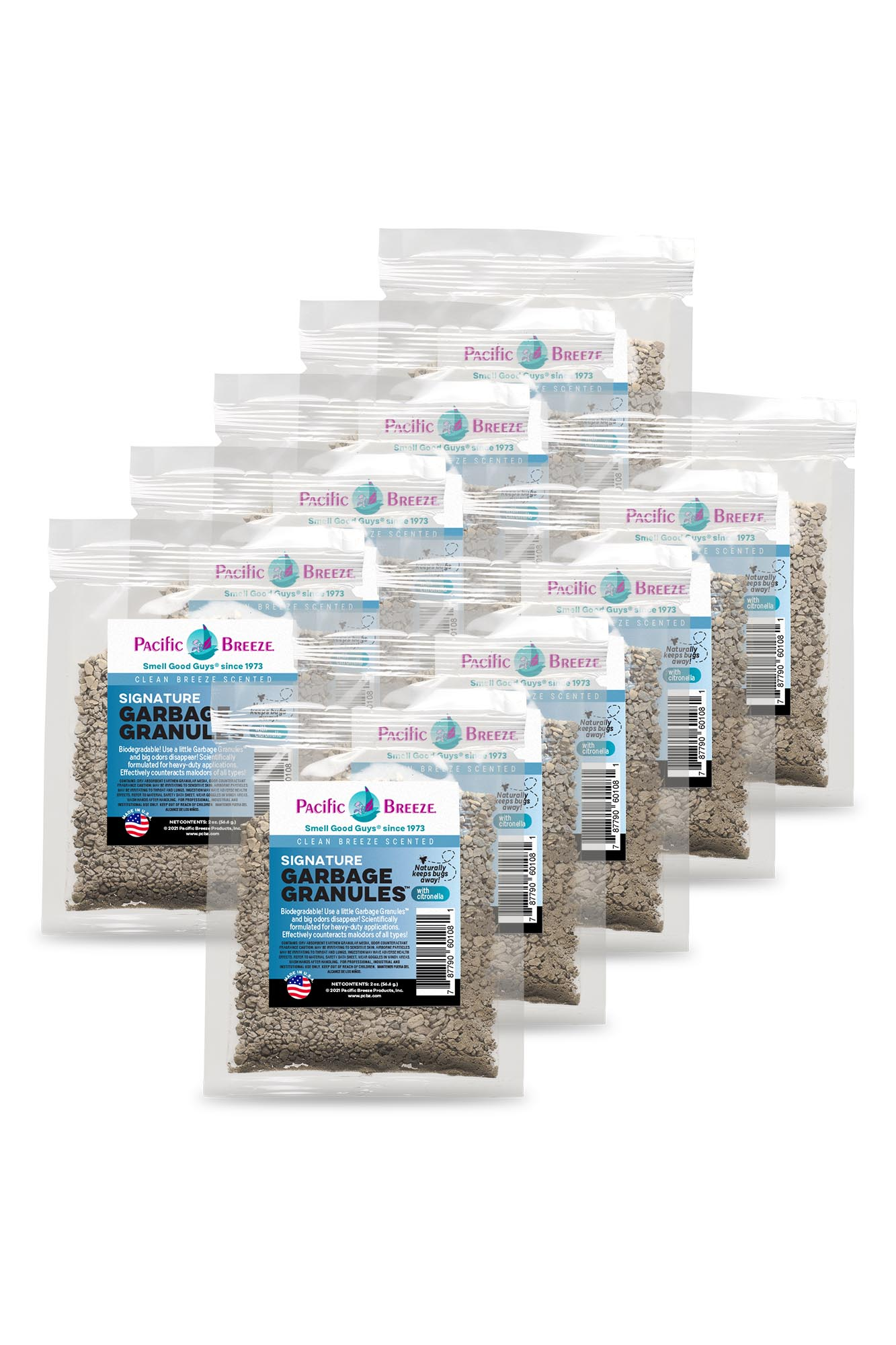 Pacific Breeze Garbage Granules™ Odor Control Packets - Signature, 1 Box (10 Packets)