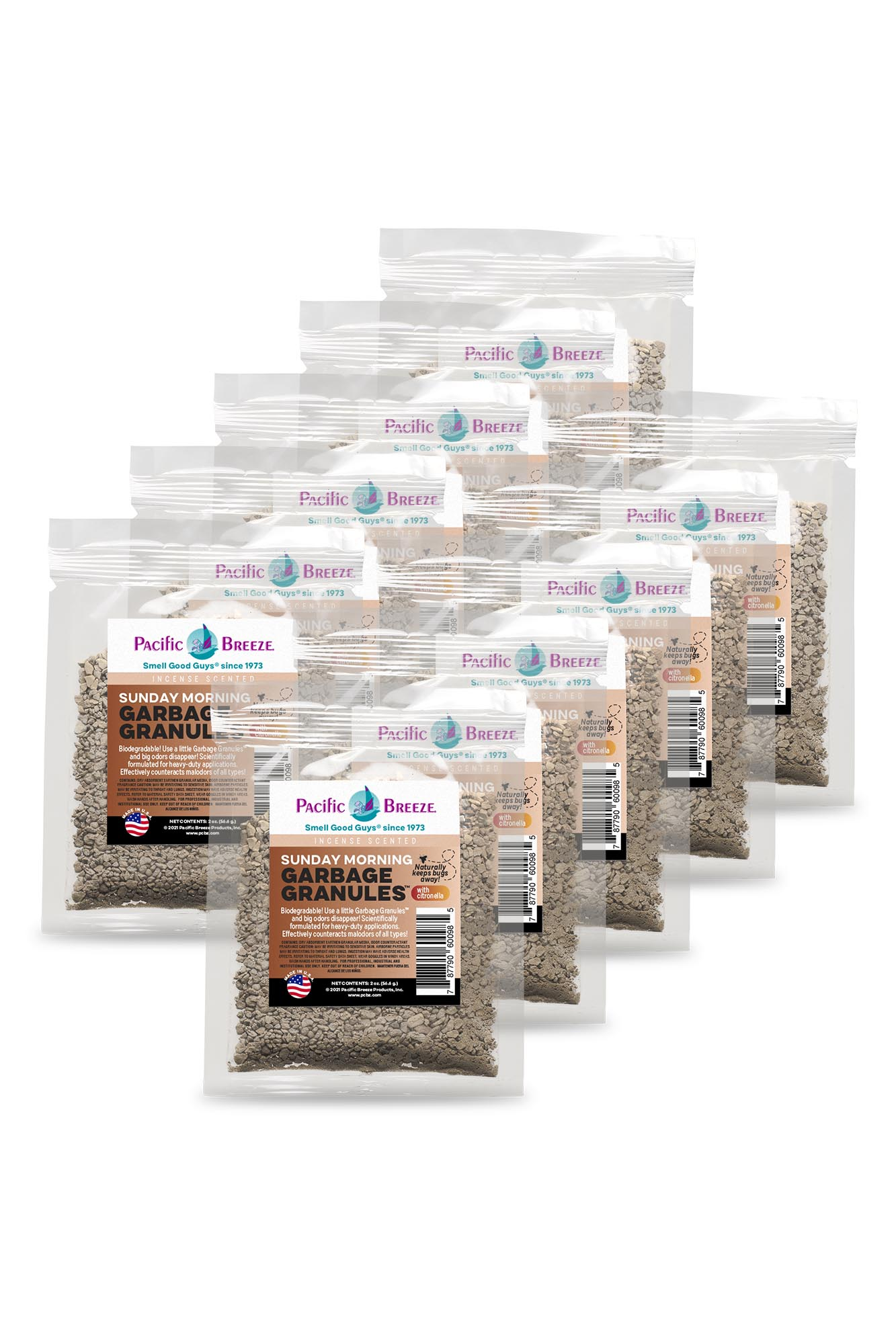 Pacific Breeze Garbage Granules™ Odor Control Packets - Sunday Morning, 1 Box (10 Packets)