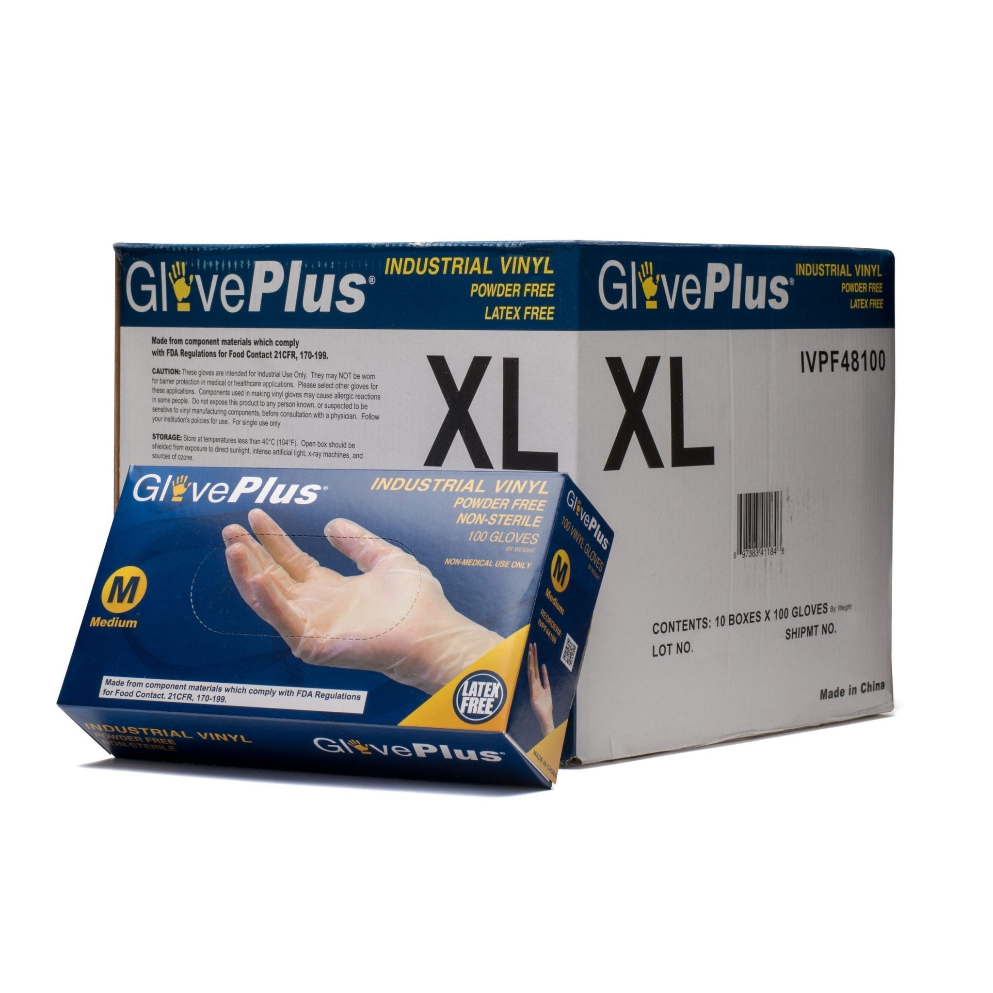 GlovePlus Clear Vinyl Industrial Latex Free Disposable Gloves